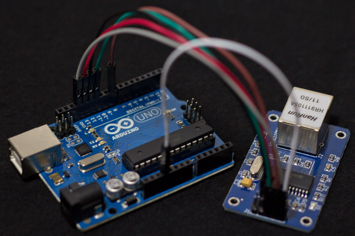 Arduino Uno with ENC28J60 Ethernet Module